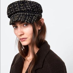 New ZARA black tweed checkered Chanel French hat S
